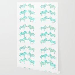 Zebras – Mint Palette Wallpaper