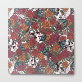 Roses, Skulls and Butterflies Metal Print