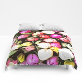 Pink and White Tulips Comforters