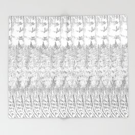 Feather Pattern | Grey and White Throw Blanket