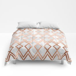 Copper & White Geo Diamonds Comforters