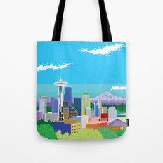 8-Bit Pixel Seattle Skyline Tote Bag