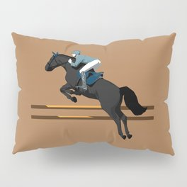 Jumping Black Horse and a Man Pillow Sham