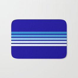 Retro Stripes on Blue Bath Mat