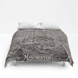 Vintage Pictorial Map of Manchester CT (1914) Comforters