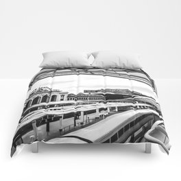 Union Station // Train Travel Downtown Denver Colorado Black and White City Photography Comforters