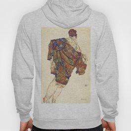 Woman in multicolourd coat by Egon Schielle Hoody