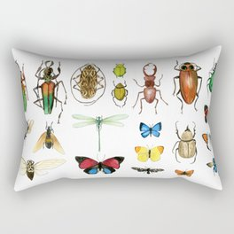 The Usual Suspects - insects on white Rectangular Pillow