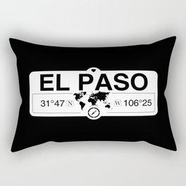 El Paso Texas Map GPS Coordinates Artwork with Compass Rectangular Pillow