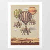 colour Art Prints featuring Flight of the Elephants  by Terry Fan