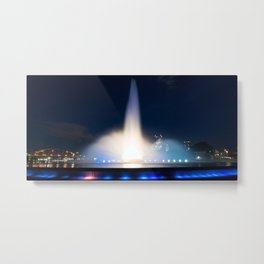 Dramatic night shot of the Pittsburgh Fountain Metal Print