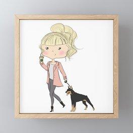 Girl With A Dog Framed Mini Art Print