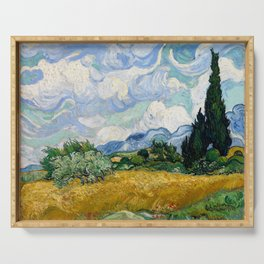 Wheat Field with Cypresses Serving Tray