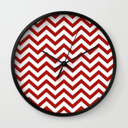 Simple Chevron Pattern - Red & White - Mix & Match with Simplicity of life Wall Clock