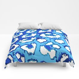 Blue and White Leopard Spots Comforters