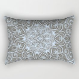Light Blue Center Swirl Mandala Rectangular Pillow