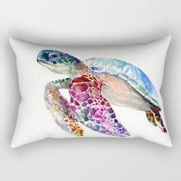 Sea Turtle, swimming turtle art, purple blue design animal art Rectangular Pillow