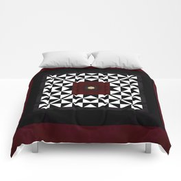 Ruby Red Marble w/ Blk & White Geometrica Pattern Insert Comforters