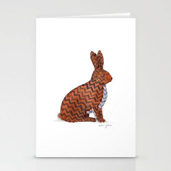 zig zag rabbit Stationery Cards
