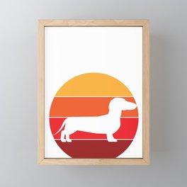 Vintage Retro 80s Dachshund Dog for Canine Friendly Families design Framed Mini Art Print