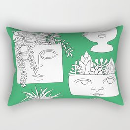 Illustrated Plant Faces in Kelly Green Rectangular Pillow