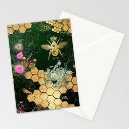 French chic, victorian,bee,floral,gold foil, belle epoque,art nouveau, green foil, elegant chic coll Stationery Cards