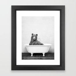 Bear in a Vintage Bathtub (bw) Framed Art Print
