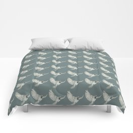 Pattern: Sparrow on blue-grey Comforters