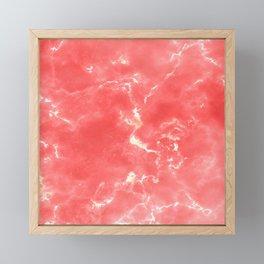 Living coral white modern abstract marble Framed Mini Art Print