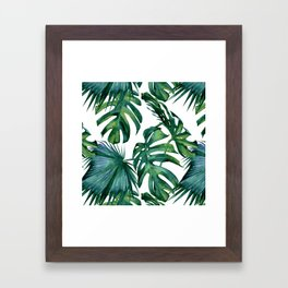 Classic Palm Leaves Tropical Jungle Green Framed Art Print