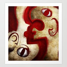 Red Digital Engraving Twin Faces Art Print