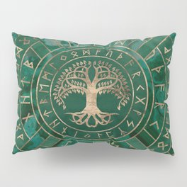 Tree of life -Yggdrasil and Futhark - Malachite Pillow Sham