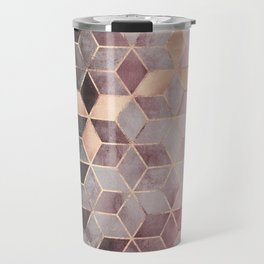 Pink And Grey Gradient Cubes Travel Mug