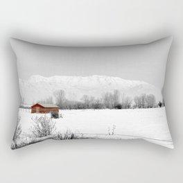 Mt Timpanogos with Red Barn Rectangular Pillow