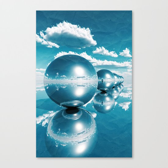 blue spheres in line paper Canvas Print