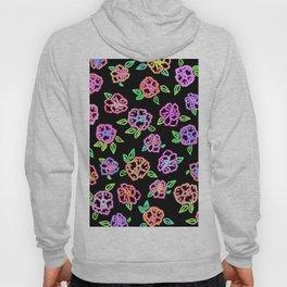 Neon Flowers Print Hoody
