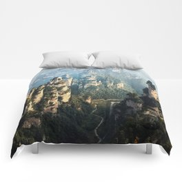 Scenic view of mountains peaks Comforters