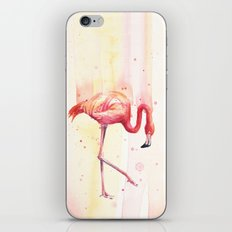 Pink Flamingo Rain | Facing Right iPhone & iPod Skin