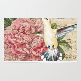 Hummingbird Peony Song Rug