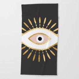 gold foil evil eye in blush Beach Towel