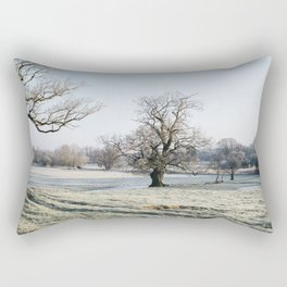 Trees in a frost covered field at sunrise. Norfolk, UK. Rectangular Pillow
