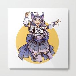 Jumping Cat Girl Metal Print