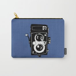 Big Vintage Camera Love - Black on Blue Background Carry-All Pouch