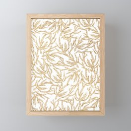 Gold Coral Ferns Framed Mini Art Print
