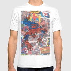 vintage comic spider man  White SMALL Mens Fitted Tee