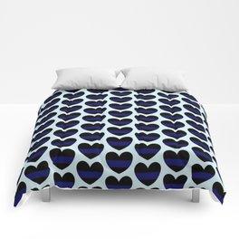 Blue Lives Matter Heart Pattern Comforters