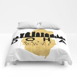 DOHA QATAR SILHOUETTE SKYLINE MAP ART Comforters