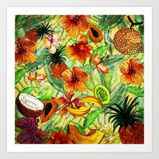 My tropical Summer Hibiscus and Fruits Garden- Jungle Pattern on #Society6 Art Print