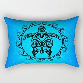 Black Tribal Turtle In Maori Sun Symbol Rectangular Pillow