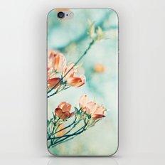 Teal Peach Coral Flower Photography, Aqua Turquoise Orange Dogwood Floral Nature Art iPhone & iPod Skin